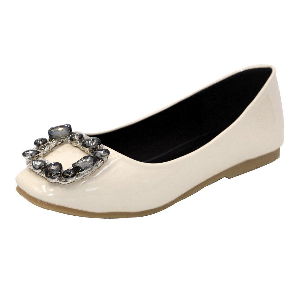 AalarDom Women's No-Heel Pull-On Soft Material Square-Toe Flats-Shoes Glass Diamond, Apricot, 42