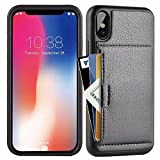 iphone X Wallet Case, iphone X Case with Card Holder, ZVE Apple iphone X Wallet Case with Credit Card Holder Slim Leather Shockproof Protective hybrid Case For Apple iPhone X 5.8 inch 2017 (Black)