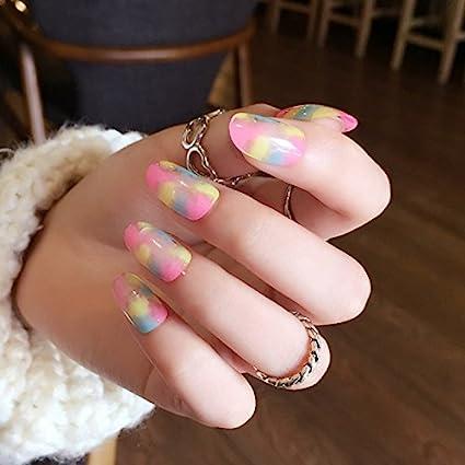 echiq Rainbow Uñas Postizas de dibujo de tinta colorido leopardo patrón transparente ovalada uñas arte consejos