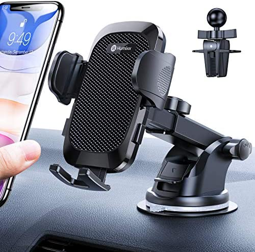 [2021 Upgraded 4 in 1 ] Car Phone Mount Humixx, [Dual Release Button] Phone Holder for Car Dashboard Air Vent Windshield, 360 ° Rotatable Long Arm Strong Suction Cell Phone Holder for iPhone 12/11