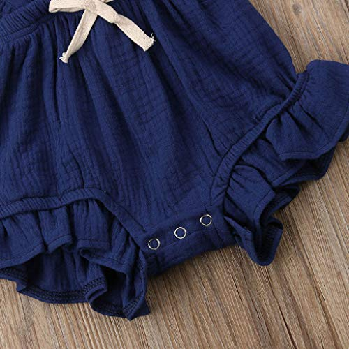 Greal 2019 New Cute Infant Baby Girls Sleeveless Color Solid Ruffles Backcross Romper Bodysuit Outfits Set Dark Blue by G-real-Girls Outfits (Image #4)