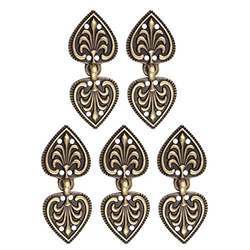 CHICTRY 5 Pairs Unique Heart/Flower Shape Cape or Cloak Clasp Fasteners Decorative Sew On Hooks and Eyes Cardigan Clip Clothing Accessory Bronze Type -