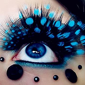 6b2a74fad4b ThinkMax False Eye Lashes for Cosmetic Party Eyelashes Exaggeration Feather  Colorful Peacock Dots - 1 Pair