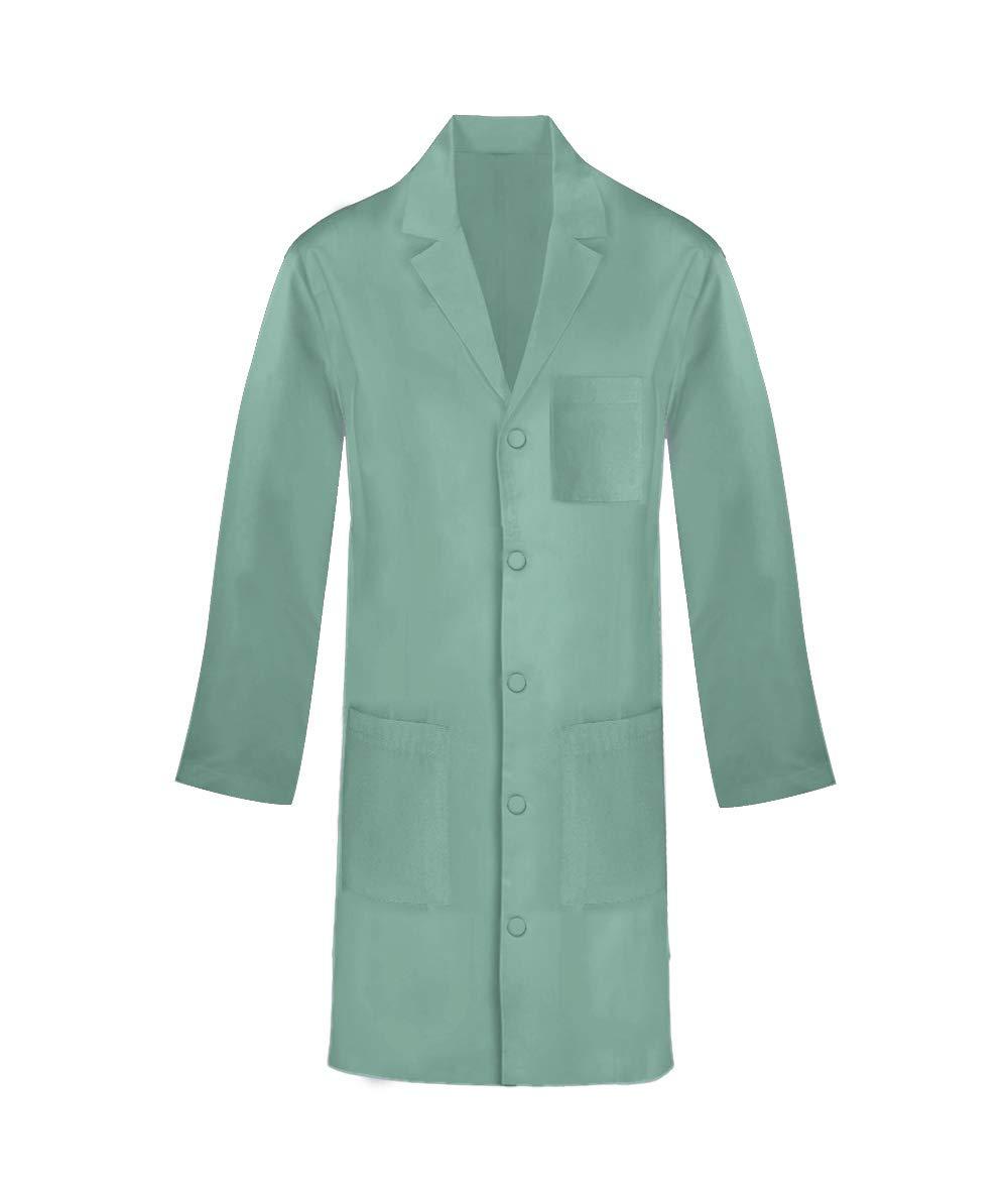 Panda Uniform Custom 40 Inch Unisex Snap Front Lab Coat-Sage-L