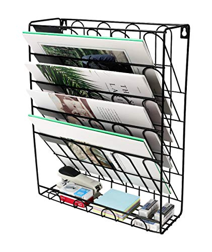 Superbpag Hanging Wall File Organizer, 5 Slot Wire Metal Wall Mounted Document Holder for Office Home, ()