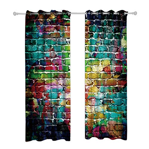 Riyidecor Colorful Brick Blackout Curtains Graffiti Wall Painted Shabby Chic Abstract Rustic Colors Street Art Fresco Printed Living Room Bedroom Window Drapes Treatment Fabric (2 Panels 52 x 84 Inch)