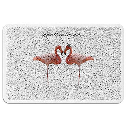 EZON-CH Indoor Outdoor Floor Mats for Entryway,All Weather Door Mats for High Traffic Areas,Love is in The AIT Cute Flamingo Pattern Floor Mats with Shoe Scraper Entrance Doormats,24x35 Inch
