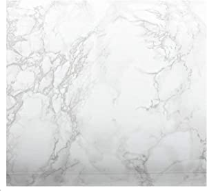 EZ FAUX DECOR Marble Paper Granite White/Gray Roll Peel and Sick Vinyl Self Adhesive Thick Wallpaper to Upgrade, Update, and Renovate Kitchen Countertop Cabinet Furniture (36