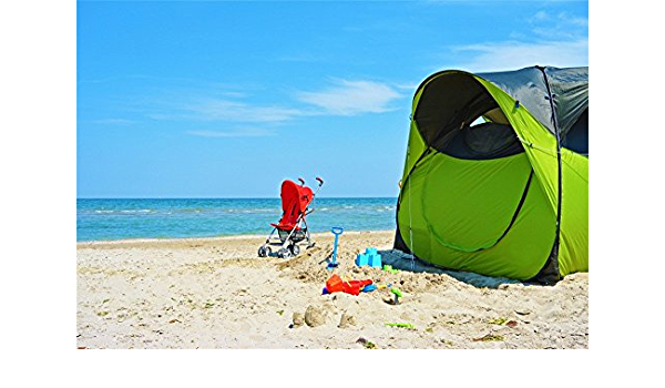 LFEEY 5x3ft Seaside Family Vacation Backdrop Summer Camp Blue Sky Sand Baby Stroller Tropical Beach Green Camping Tent Photography Background Vinyl Travel Photo Studio Props