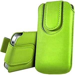 iTALKonline VERDE Calidad PU de cuero antideslizante funda de protección bolsa con pestaña y cierre magnético para Motorola XT910 RAZR