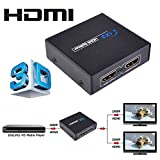 Micropromo NEW 1x2 2 Port 1080p Full HD HDMI Splitter 1 in 2 out Audio Video Distributor Amplifier VER 1.4 Support 3D for 1080P HDTV, HDCP, Sky HD, Blu-ray, PS3, XBox 360, 3D HDTV Dual Display
