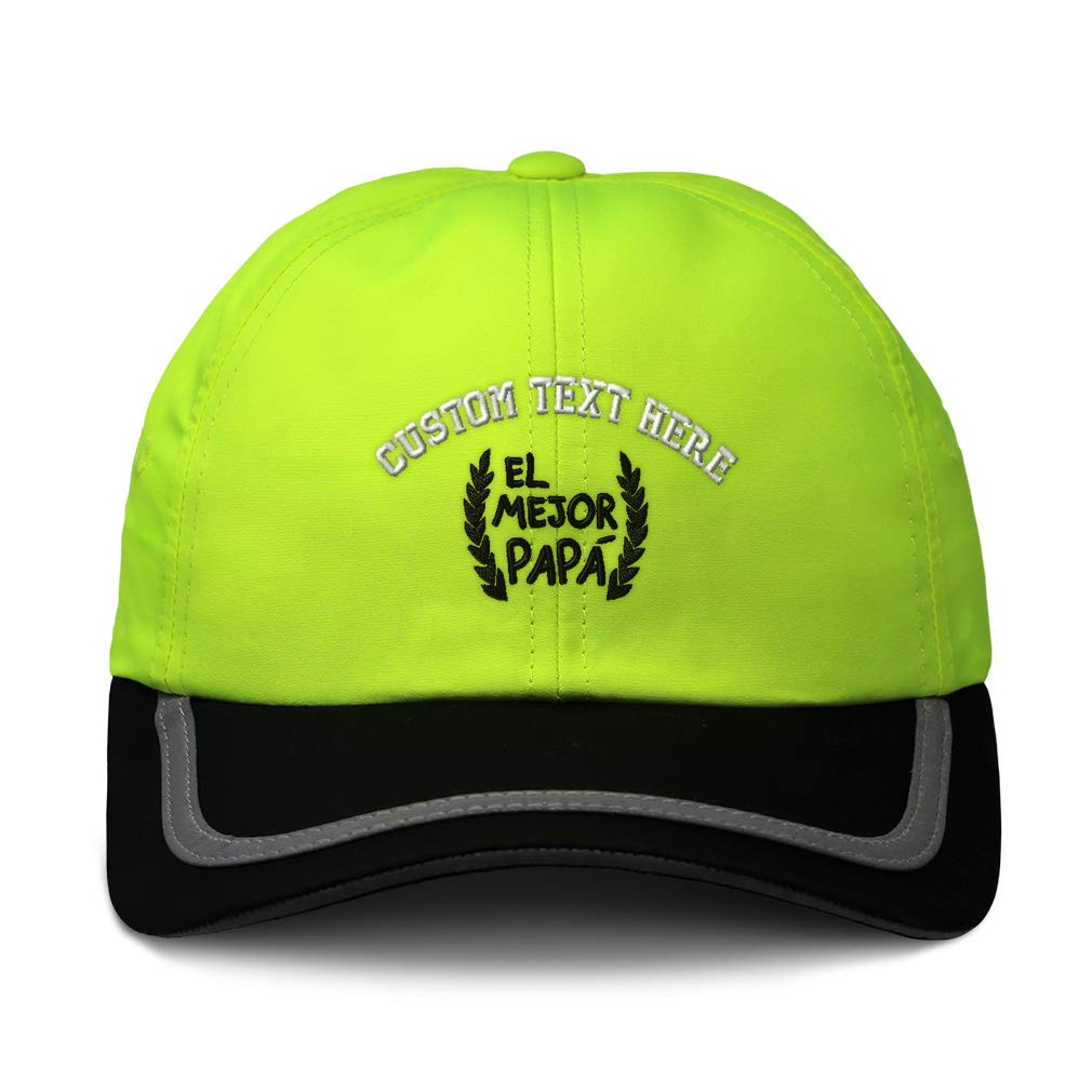 Custom Reflective Running Hat El Mejor Papa Laurel Frame A Embroidery One Size
