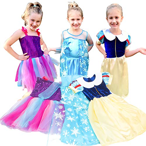 VGOFUN Princess Costume Dresses Girls 3 Pack Dress up Dresses Role Play Set for Little Girls Ages 3-6 Years