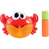 Sunsoar Red Plastic Crab Bubble Machine Music Bubble Maker Baby Bath Shower Fun Toy Birthday New Year Christmas Gift (E)