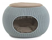 """Keter 22.7 """" x 22.3 """" x 13 """" KNIT Cozy Luxury Lounge Bed & Pet Home with Cushions, Small to Medium"""