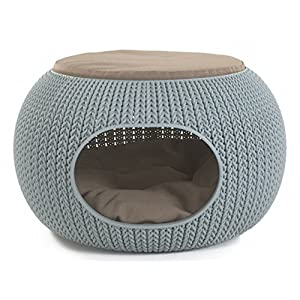 "Keter by Curver 22.7"" x 22.3"" x 13"" KNIT Cozy Luxury Lounge Bed & Pet Home with Cushions, Small to Medium"