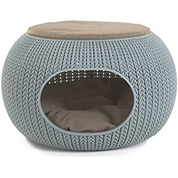 Keter KNIT Cozy Resin Plastic Luxury Lounge Bed & Pet Home with Cushions for Small Dogs to Medium Cats, Misty Blue
