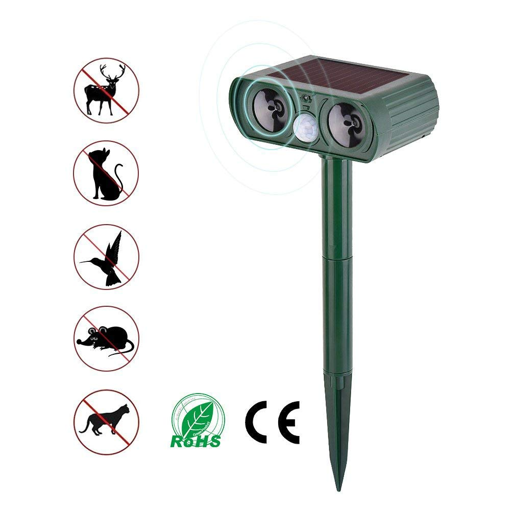 ZSIIBO Solar Powered Ultrasonic Animal and Pests Repeller, Outdoor Weatherproof Repeller, Motion Activated with Flashing LED Light and Ultrasonic Sound (Harmless) to Repel Animal Away