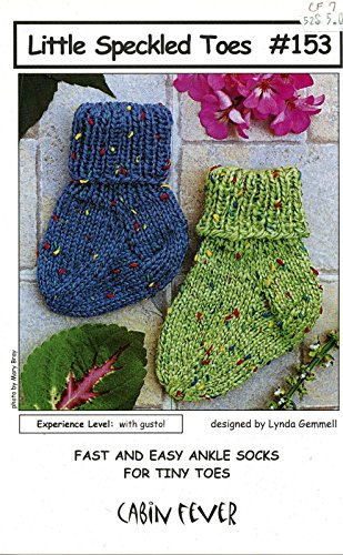 Little Speckled Toes - Cabin Fever Knitting Pattern #153 - Quick & Easy Knit Baby Ankle Socks NB - 2 Yrs Hat