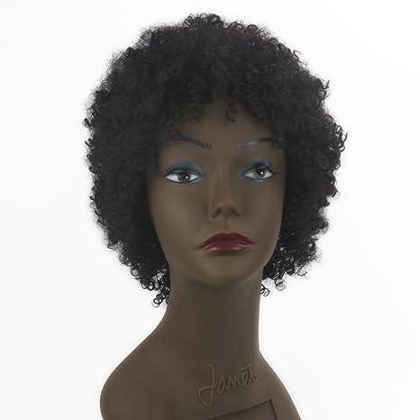 Peluca de pelo sintético para mujer, peluca negra natural, pelo corto y recto,