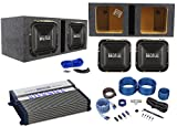 (2) Hifonics BRZ12SQD4 12' 2400w Car Subwoofers+Vented Box+BXX Amplifier+Amp Kit