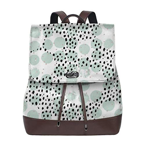 Fashion Leather Backpack Abstract Rain Raw Brush Spots Dots Cool Trendy Pastel Print LA Style Mint Purse Waterproof Anti Rucksack PU Leather Bags