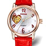 Ladies automatic mechanical watches/ fashion strap watch/ love cut waterproof women's table-D