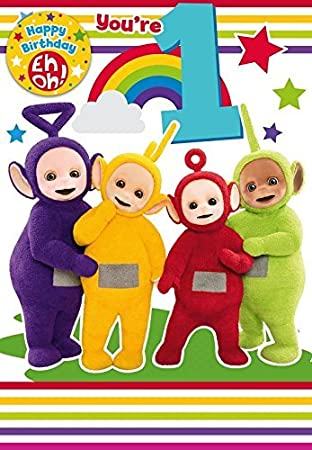 Teletubbies Age 1 Birthday Card With A Badge Amazon Toys Games