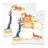 InterestPrint Watercolor Autumn Tree with Yellow and Orange Leaves Pillow Case Cover 18x18 Twin Sides, Red Fluffy Fox and Leaf Fall with Wind Zippered Throw Pillowcase Shams Decorative, Set of 2