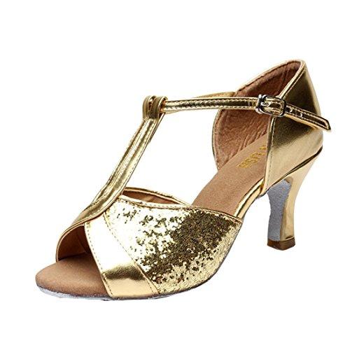 Mädchen Latein Absatz DorkasDE 7cm 7cm Absatz Ballsaal Schuhe Tanz Latein 5 Tanzschuhe Gelb Damen Tanzschuhe mit ptww4q5Z