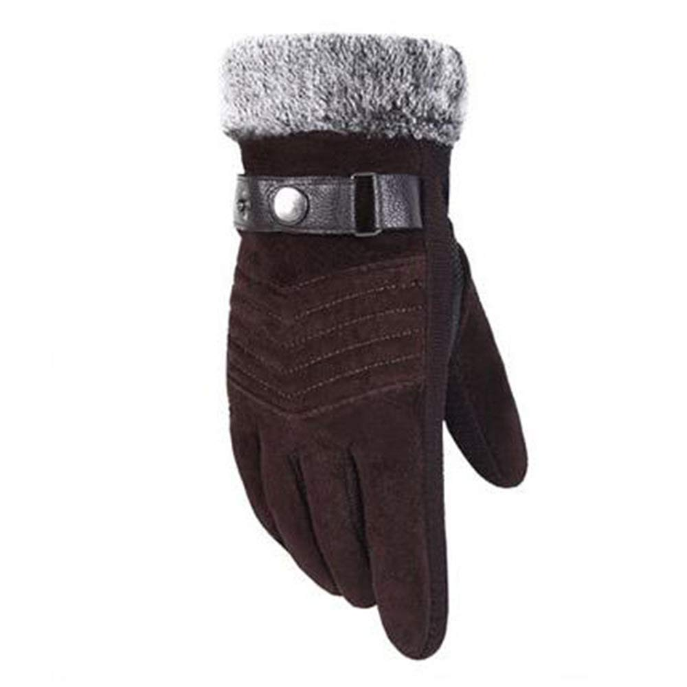 Quelife Leather Gloves Mens Winter Windproof Waterproof Cycling Motorcycle Pigskin Non-Slip Thick Warm Touch Screen Gloves