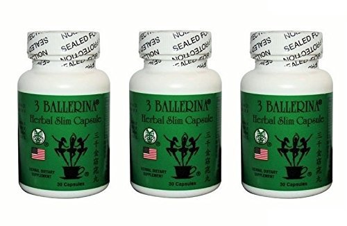 3 Three Bottle - 3 Bottles of 3 Ballerina Herbal Slim Capsule (30 Capsules)