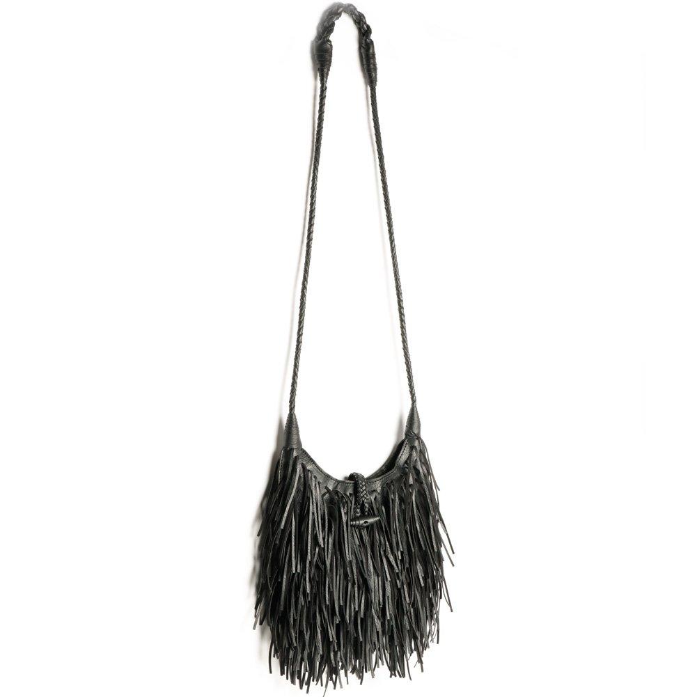 Women's Fashion Fringed Shoulder Bag,WALLYN'S Tassel Faux Suede Leather Messenger Bag Hobo Cross Body Handbag (Black)