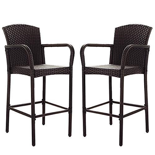 COSTWAY Rattan Wicker Bar Stool, Outdoor Backyard Chair Patio Furniture with Armrest Rattan Wicker Set of 2 Barstools (Mix Brown) (Garden Synthetic Furniture Rattan)