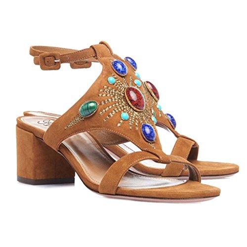 SHEO sandalias de tacón alto Damas de alto para ayudar a la banda romana con sandalias de botas altas B