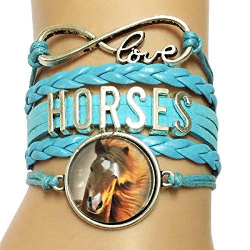 Dolon Horse Head Charm Wrapped Infinity Love Horse Bracelets Blue