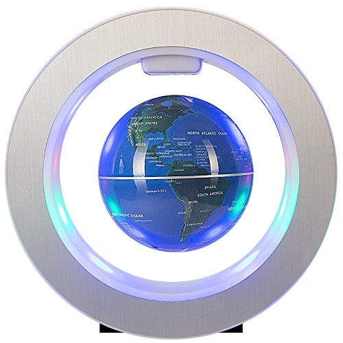 4Inch Floating Globe with LED Lights Magnetic Levitation Floating Globe with Power Button World Map for Desk Decoration Kids Educational Globe (Blue)