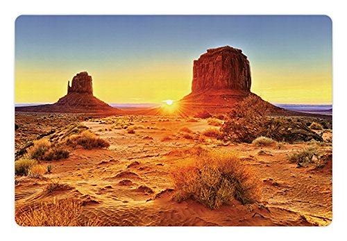 Canyon Pet Mats for Food and Water by Lunarable, Monument Valley Tribal Park with Sunset and Big Carved Stone Indian Lands Print, Rectangle Non-Slip Rubber Mat for Dogs and Cats, - Sun Park Land