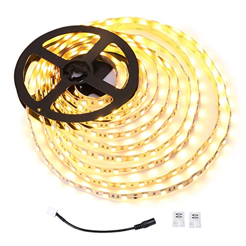 LE 12V LED Light Strip, Flexible, 300 LEDs SMD 5050, 16.4ft Tape Light for Home, Kitchen, Party, Christmas and More, Warm White