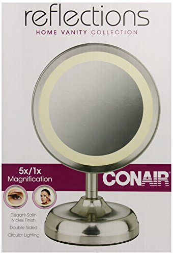 Conair Satin (Conair Double-Sided Lighted Mirror, Satin Nickel Finish)