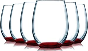 Red Stemless Wine GlassesÊBottom Colored- 15Êoz. SetÊof 6- Additional Vibrant Colors Available by TableTop King