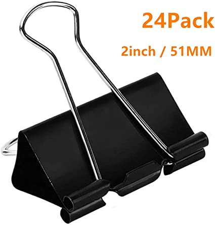 1.6- Black Binder Clips 1.6-Inch Large Paper Clamps 24 Pack
