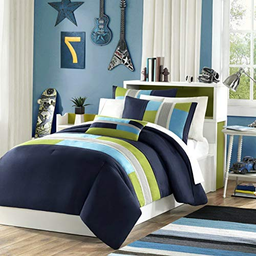 Kaputar Beautiful Modern Navy Blue Teal Khaki Green Stripe BOY Sport Soft Comforter Set | Model CMFRTRSTS - 824 | Twin Extra ()