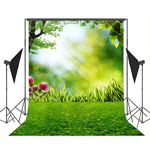 Mocsicka Spring Backdrop 5x7ft Easter Green Grass Red Flower Photo Booth Backdrops Forest Photography Shooting -
