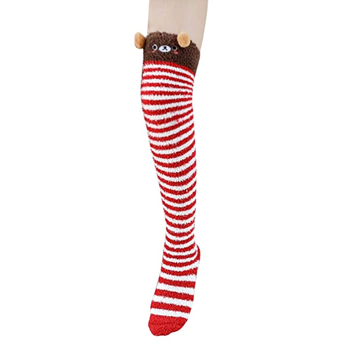 795499dd04b Baijiaye Women Over Knee Fleece Socks High Thigh Fluffy Stockings Ladies  Stretchy Cute Long Christmas Sock for Students Girls  Amazon.co.uk  Clothing