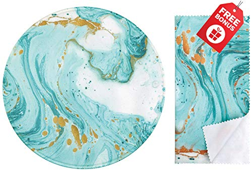 Teal Marble Glitter Round Mouse Pad. Colorful Cute Design with Non Slip Base. Matching Microfiber Cleaning Cloth for Eye Glasses & Electronics. Cool Mouse Pad for Laptop & - Pad Teal Mouse