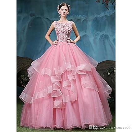 c64702e09a 1 Pieza de lujo Rosa de encaje vestido de fiesta baratos vestidos  Quinceanera Custom made Scoop