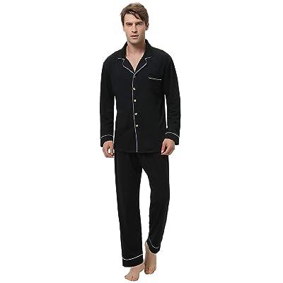 Abollria Men's Cotton Pajama Set Long Sleeve Sleepwear Button Down Lounge Set at Amazon Men's Clothing store