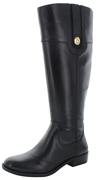 Tommy Hilfiger Women's Dalyn Wide Calf Black Leather Boot