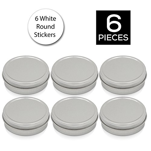 [6 Pack] Simba Homes™ Screw Top Round Steel Tin Cans 2 oz (60 ml) with Self Adhesive White Round Stickers